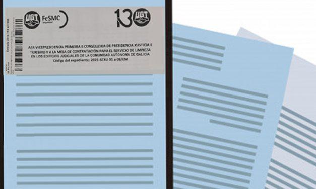 UGT solicita aumento de horas en los pliegos de contratación de la limpieza de los juzgados de Galicia